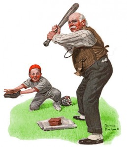 An image of an elderly man playing baseball and a young boy in a baseball uniform as catcher.